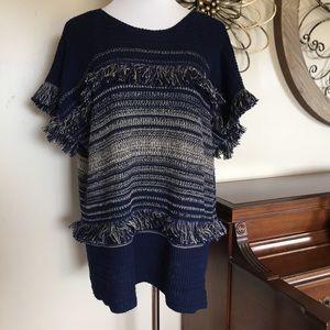 NWT Dana Buchman Sz 2X Poncho Style Fringe Sweater